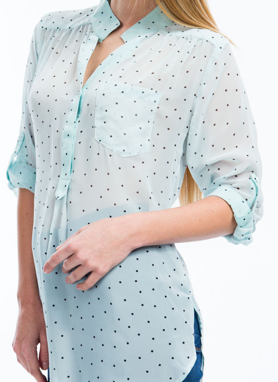 Read My Polka Face Dotted Blouse MINT