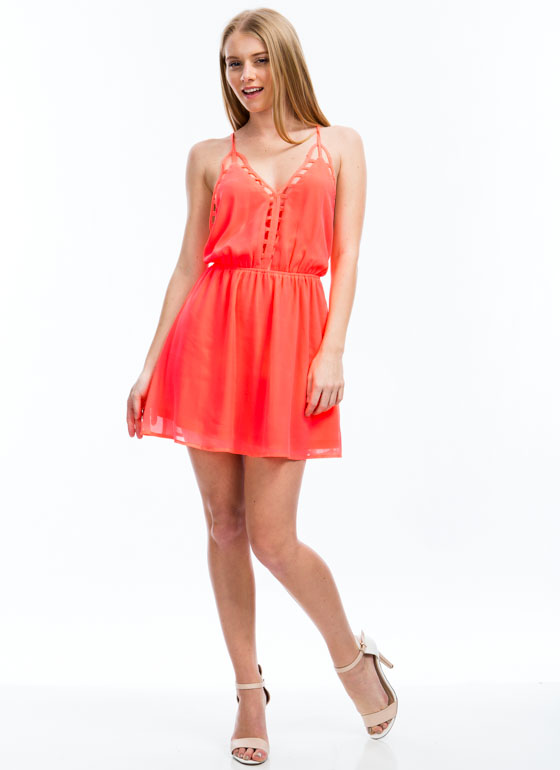 Ladder Up Strappy Cage Trim Dress NEONCORAL