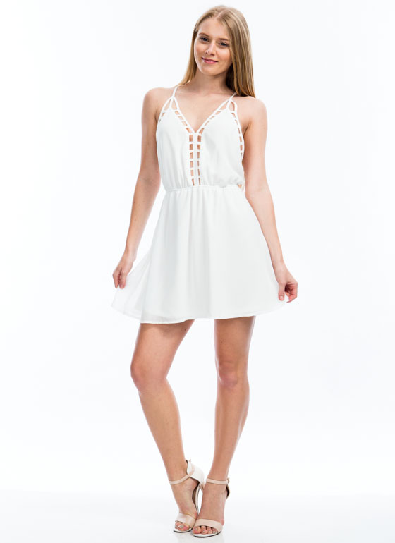 Ladder Up Strappy Cage Trim Dress WHITE