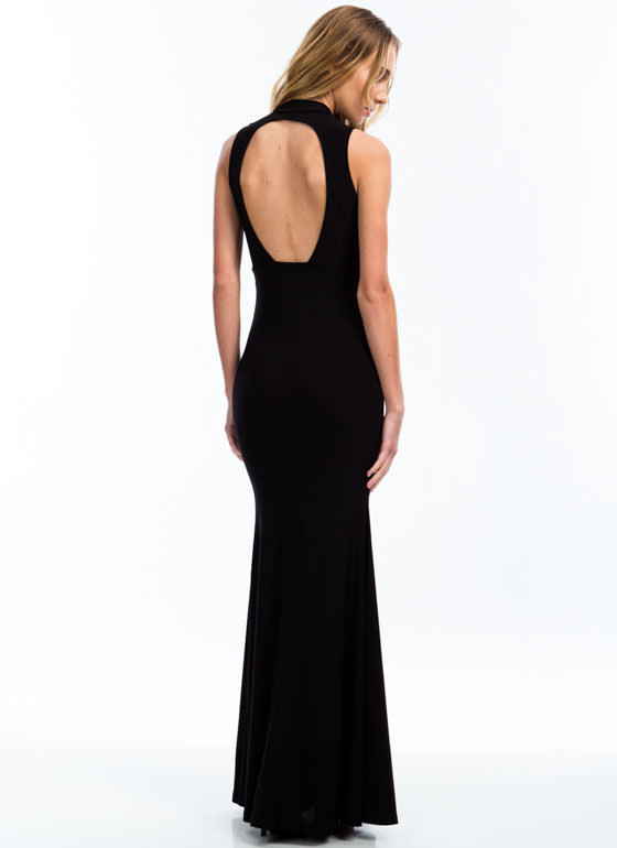 Mermaid To Order Cut-Out Maxi Dress BLACK
