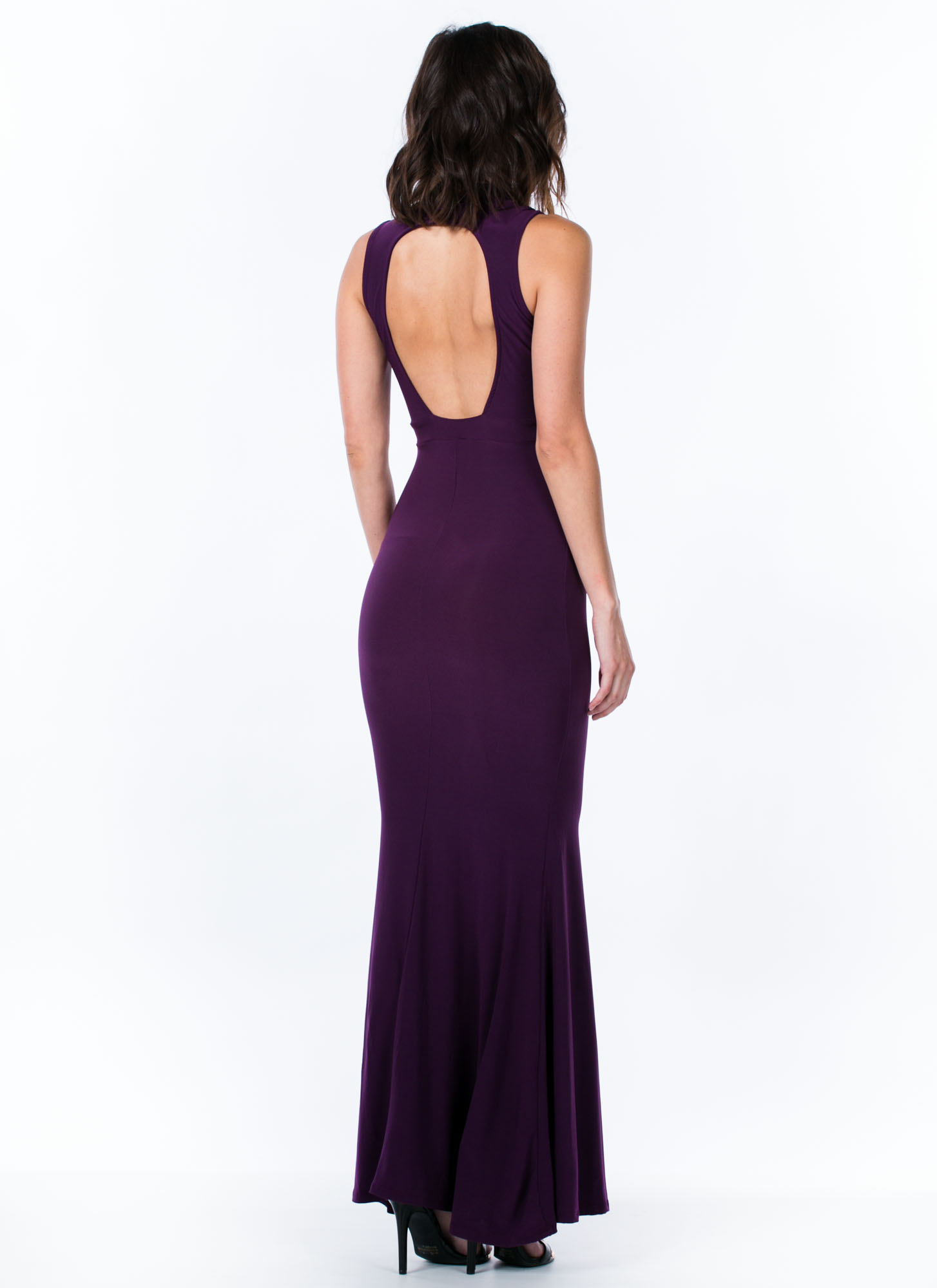 Mermaid To Order Cut-Out Maxi Dress PLUM