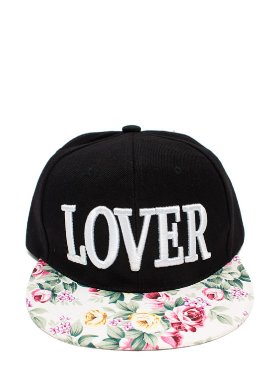Floral Brim Embroidered Lover Snapback BLACKIVORY