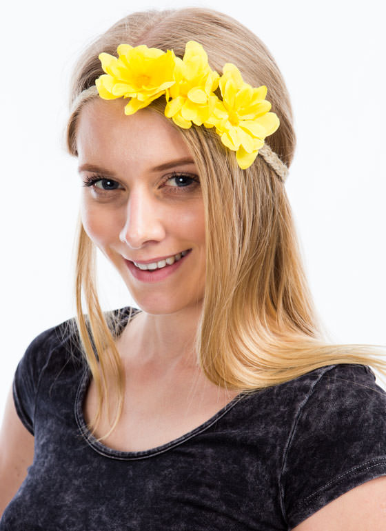 Braided Twine Daisy Headband YELLOW