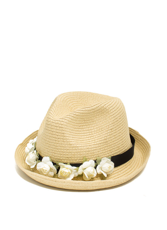 Band Of Roses Straw Fedora BEIGEIVORY