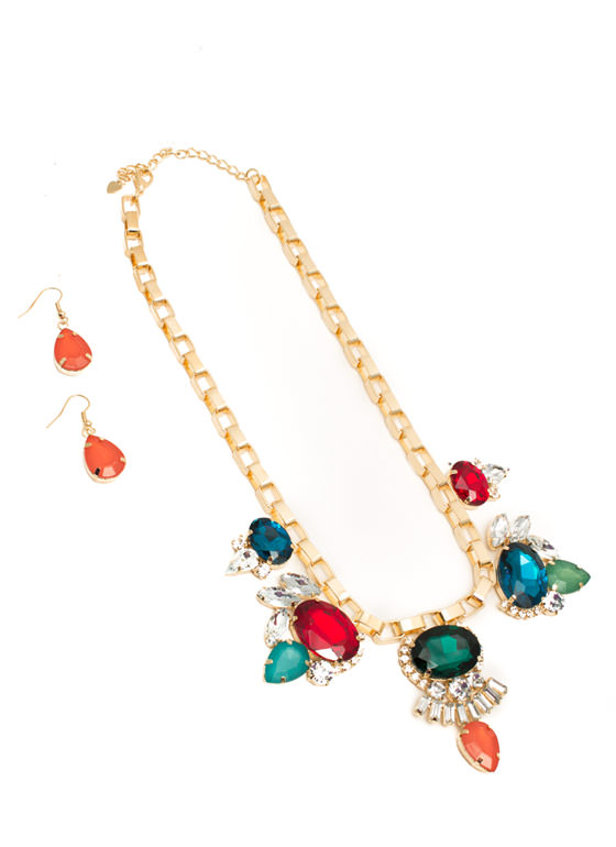 Bib of Faux Jewels Necklace Set MULTIGOLD