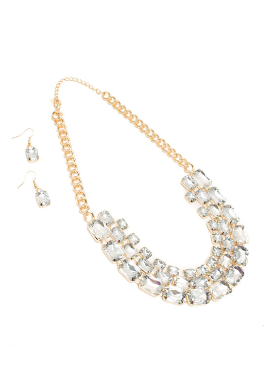 Shiny Square Faux Jewel Necklace Set CLEARGOLD