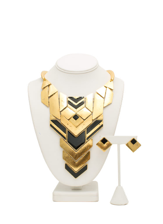 Tribal Plated Choker Necklace Set GOLDBLACK