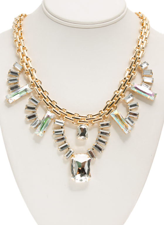 Iridescent Faux Jewels Necklace Set CLEARGOLD