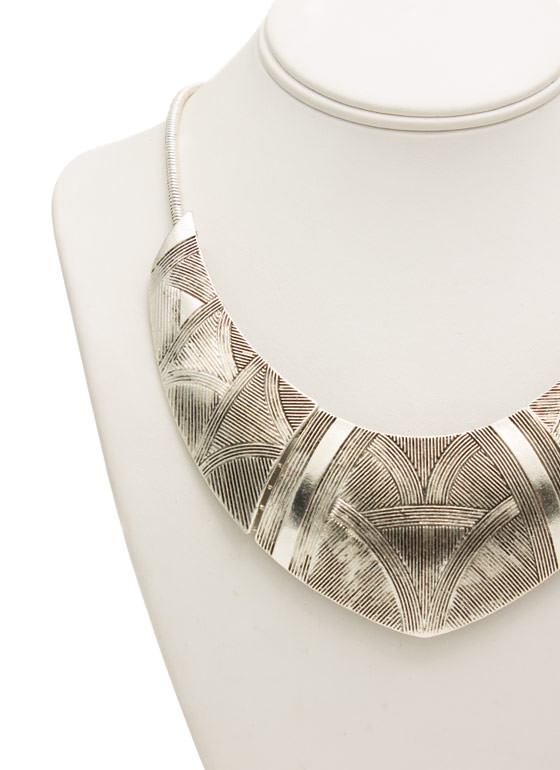Textured Tribal Plated Necklace Set SILVER
