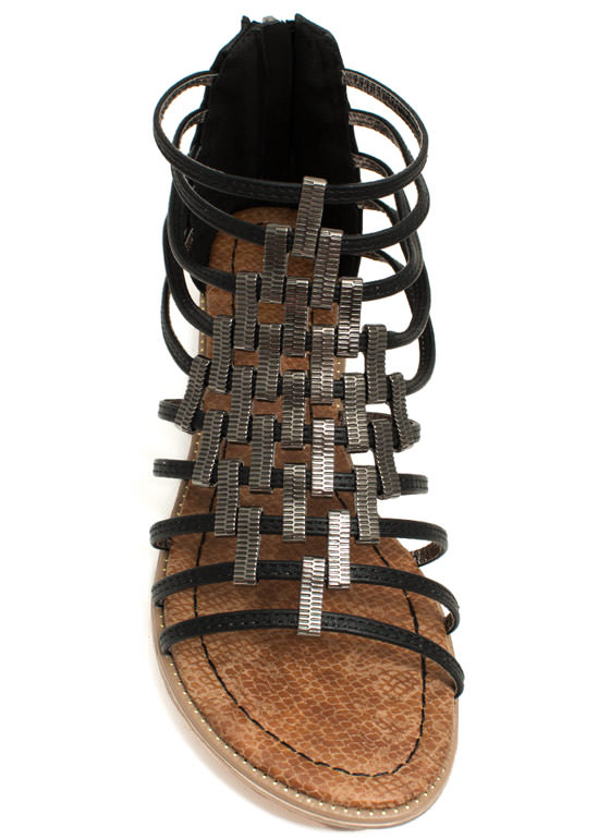 Make A Bracket Strappy Sandals BLACK