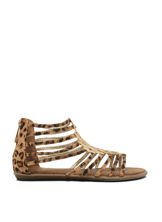Make A Bracket Strappy Sandals LEOPARD