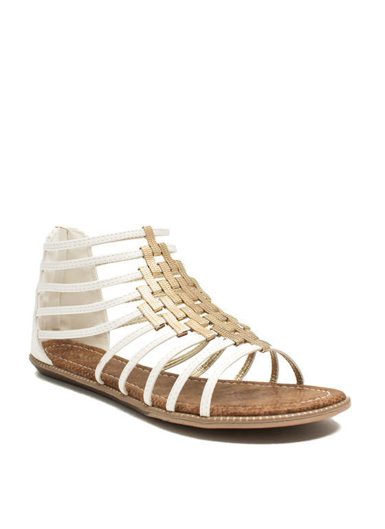 Make A Bracket Strappy Sandals WHITE
