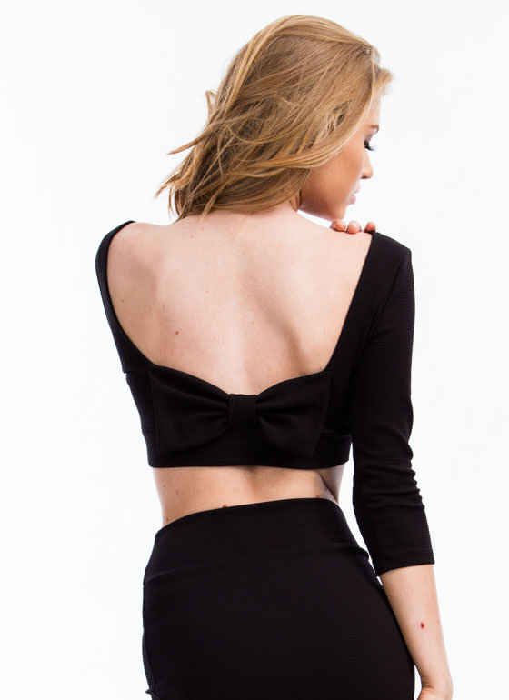 Photo Finish Bow-Back Cropped Top BLACK