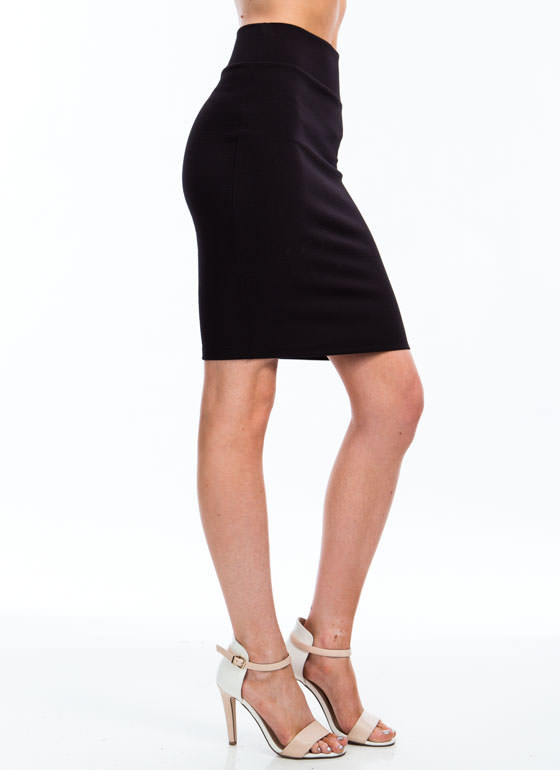 Photo Finish Textured Pencil Skirt BLACK