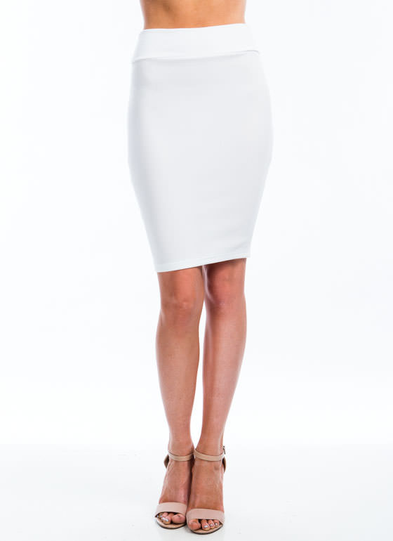 Photo Finish Textured Pencil Skirt WHITE