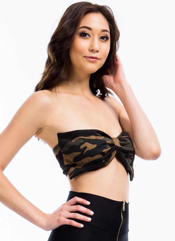 Bow My Goodness Camo Print Bandeau GREEN