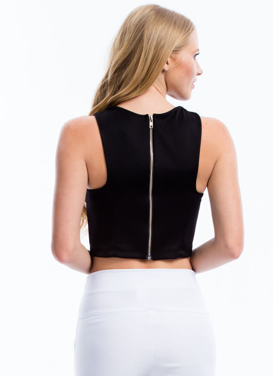 Structured N Seamed Cropped Top BLACK