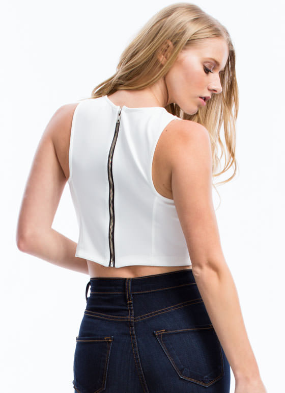 Structured N Seamed Cropped Top OFFWHITE