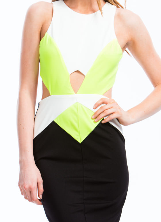 Double Up On Diamonds Cut-Out Dress NEONYELLOW