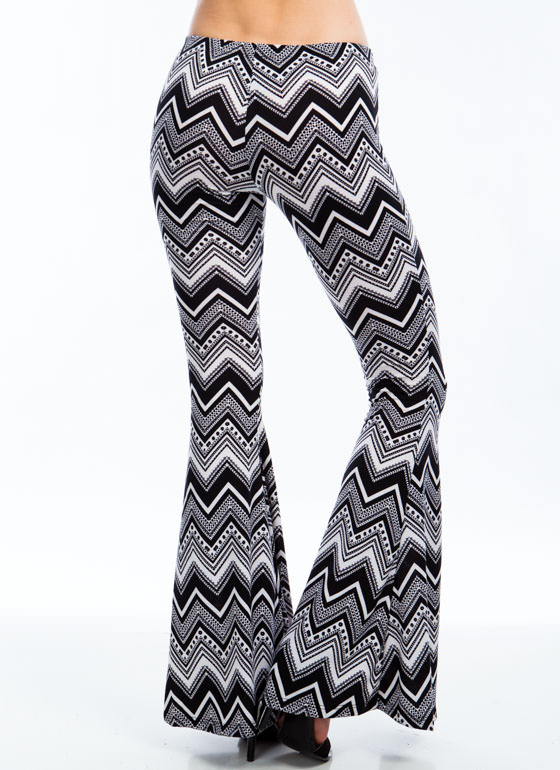 Zest For Zigzags Bell-Bottom Pants BLACK