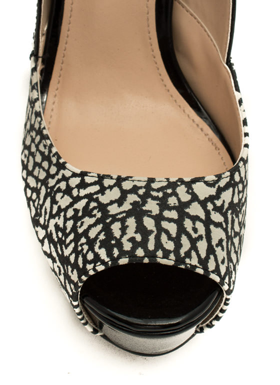 Modern Mary Jane Printed Heels BLACKWHITE
