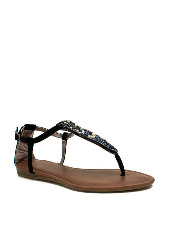 Tribal Magic Beaded T-Strap Sandals BLACK