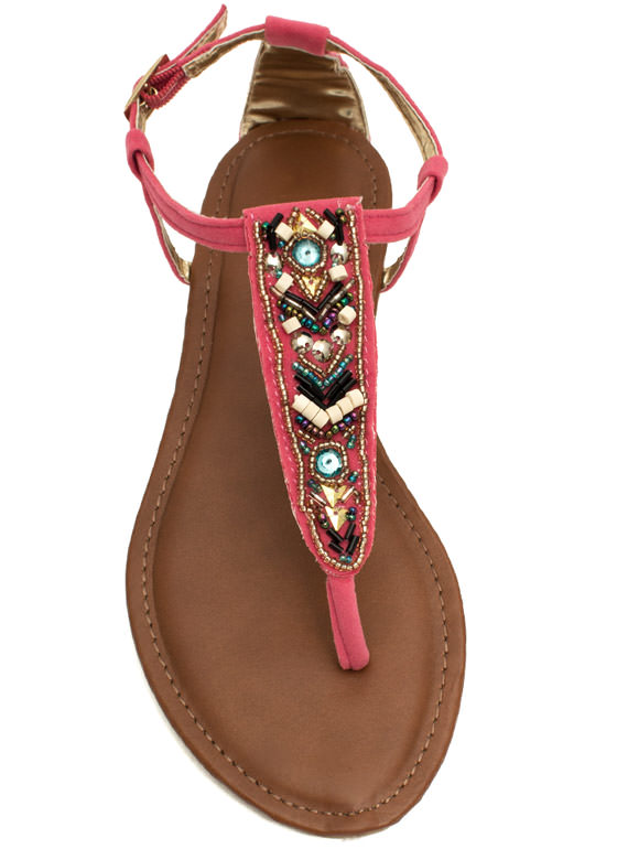 Tribal Magic Beaded T-Strap Sandals CORAL