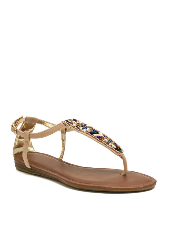 Tribal Magic Beaded T-Strap Sandals NUDE