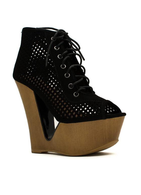 Cut It Out Peep-Toe Wedge Booties BLACK