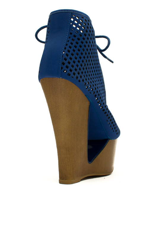 Cut It Out Peep-Toe Wedge Booties BLUE