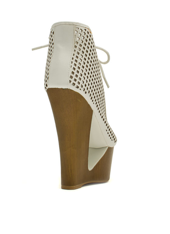 Cut It Out Peep-Toe Wedge Booties WHITE