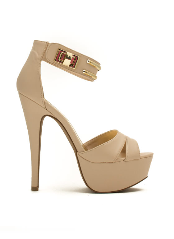 So Fancy Twist Lock Stiletto Heels NUDE