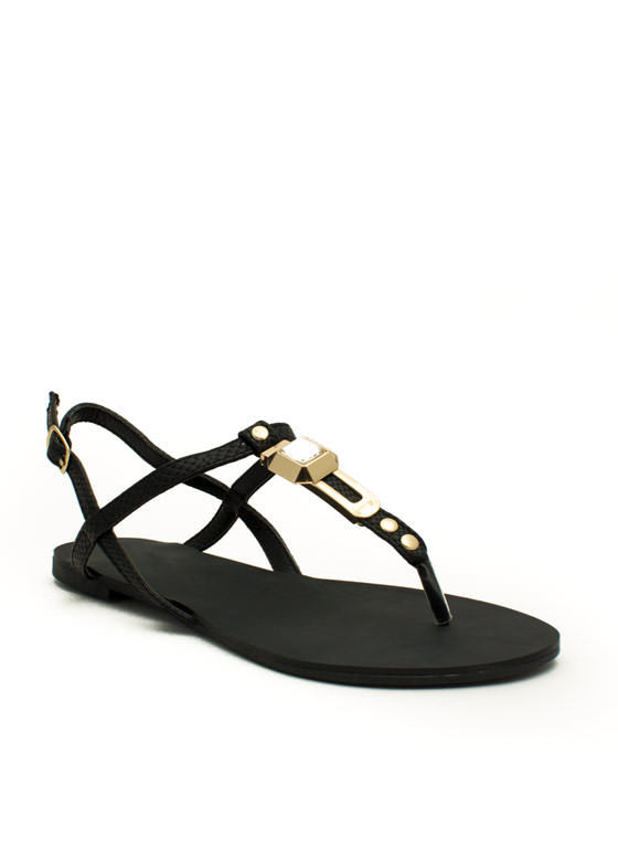 Slip N Slither T-Strap Sandals BLACK