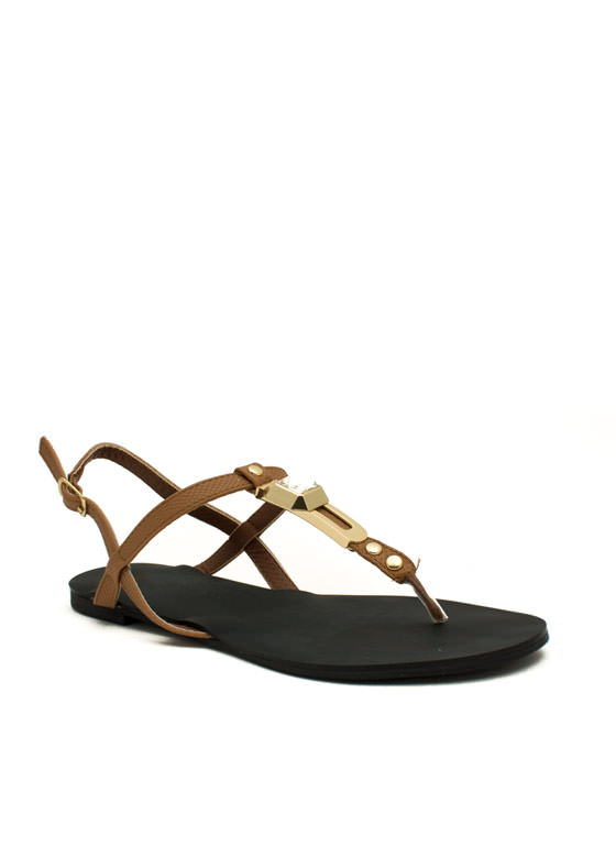 Slip N Slither T-Strap Sandals CAMEL