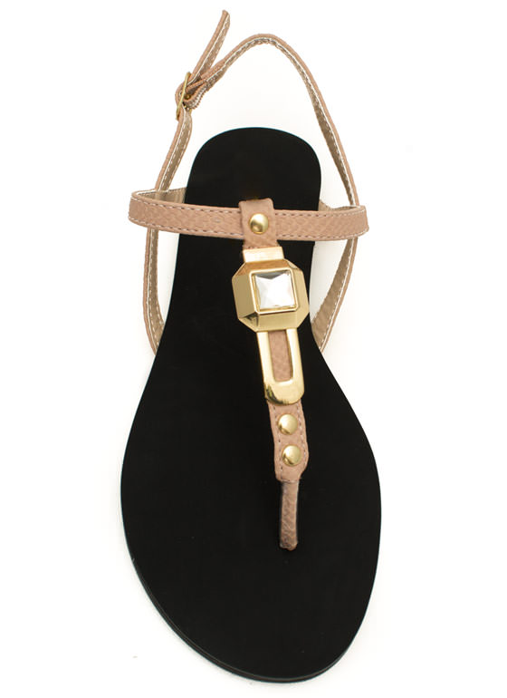 Slip N Slither T-Strap Sandals NUDE