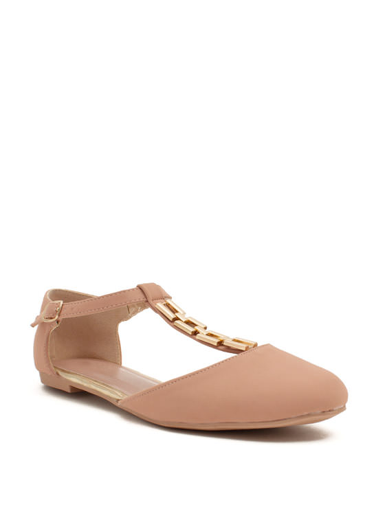 Time For Chain-ge T-Strap Flats NUDE