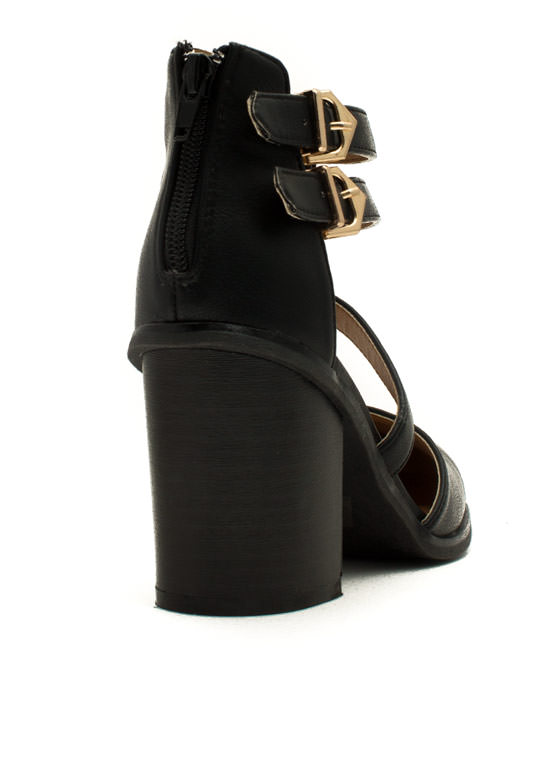 On The Triple Chunky Heels BLACK