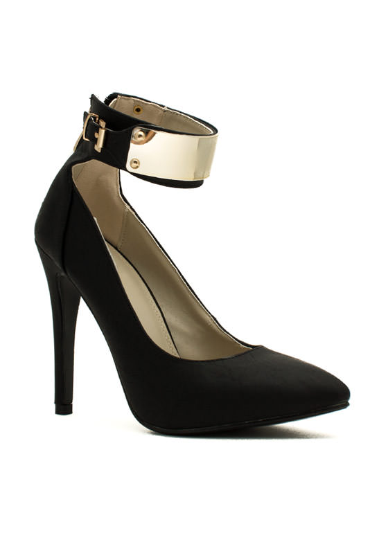 Plating For Keeps Ankle Cuff Heels BLACK