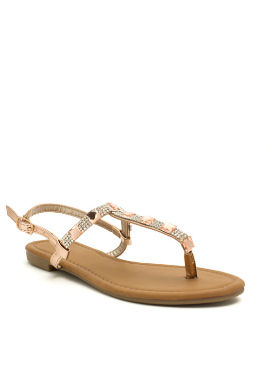Jewelry Box Metallic T-Strap Sandals ROSEGOLD