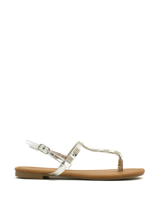 Jewelry Box Metallic T-Strap Sandals SILVER