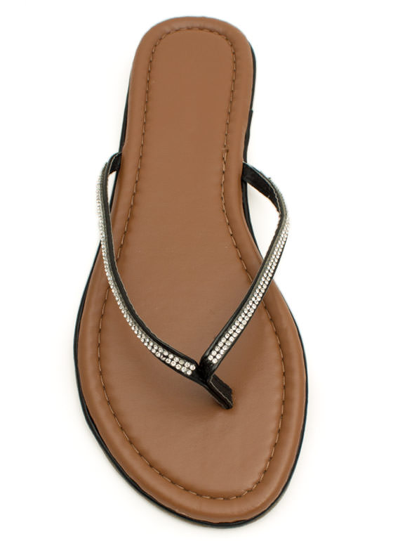 Twinkle Toes Jeweled Thong Sandals BLACK