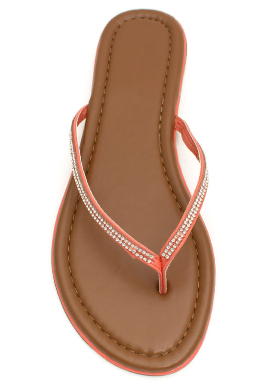 Twinkle Toes Jeweled Thong Sandals CORAL