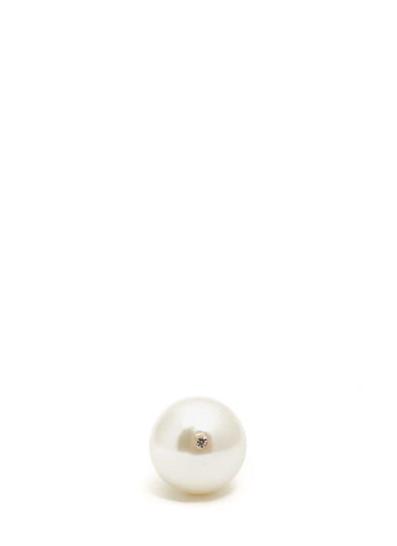 Oversized Faux Pearl Stretchy Ring IVORYGOLD