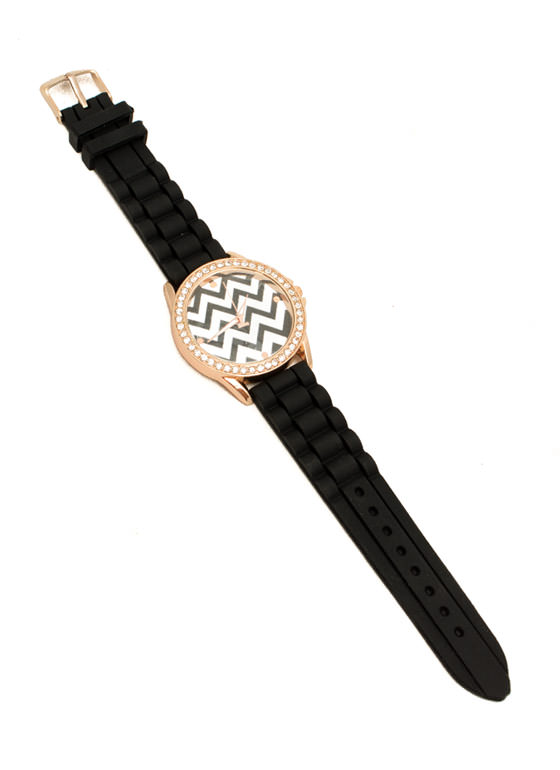 Chevron Rhinestone Silicone Watch BLACK