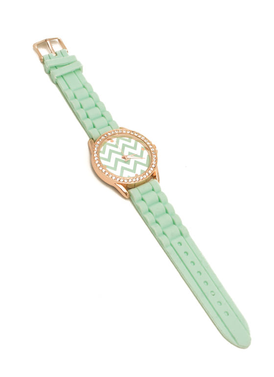 Chevron Rhinestone Silicone Watch MINT