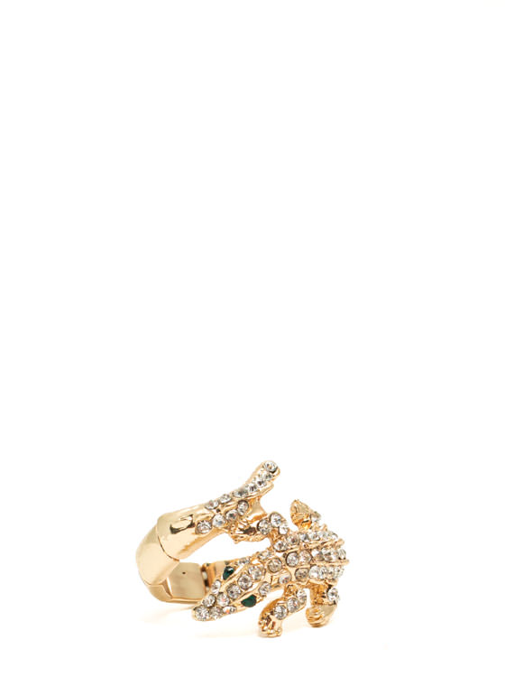 Jeweled Reptile Stretchy Ring GOLD