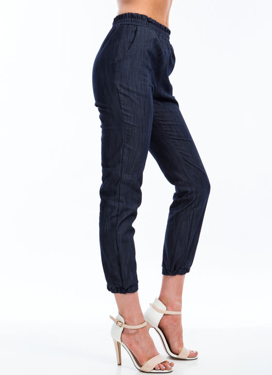 Chic In Chambray Joggers BLUE
