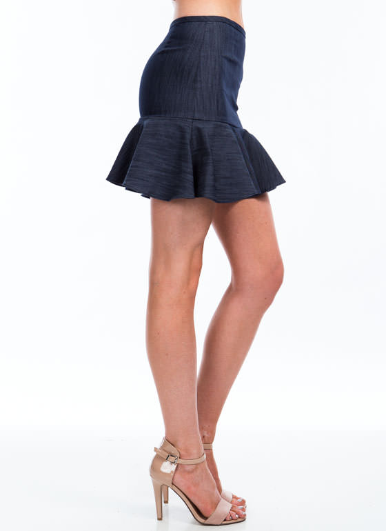 Chic In Chambray Peplum Hem Skirt BLUE