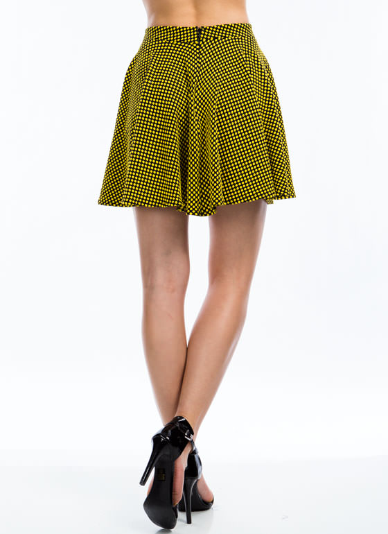 Spotted In Dots Skater Skirt YELLOW