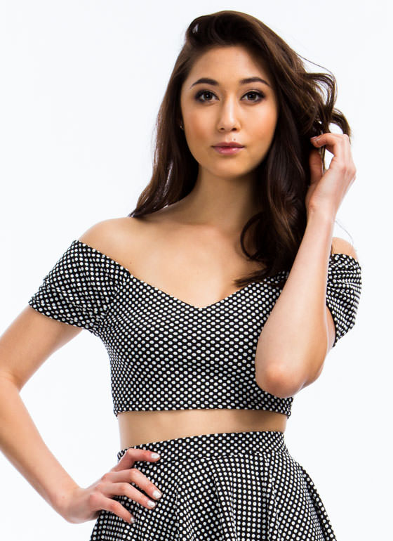 Spotted In Dots Cropped Top WHITE